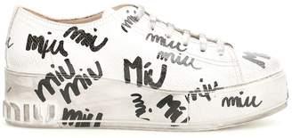 Miu Miu Logo Crackled Sneakers
