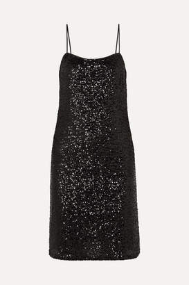 Anna Sui Sparkling Nights Sequined Mesh Dress - Black