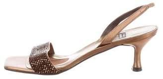 Stuart Weitzman Embellished Low Heel Sandal