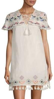 Red Carter V-Neck Embroidered Cover-Up Dress