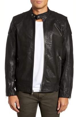 LAMARQUE Stitch Detail Leather Racer Jacket
