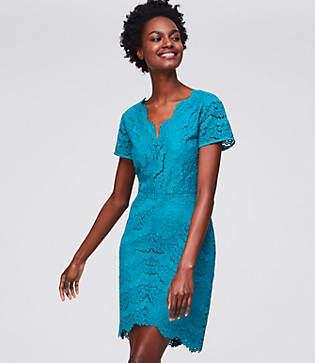 LOFT Petite Lace V-Neck Sheath Dress