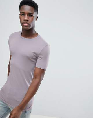 Asos Design DESIGN longline muscle fit t-shirt with crew neck in purple