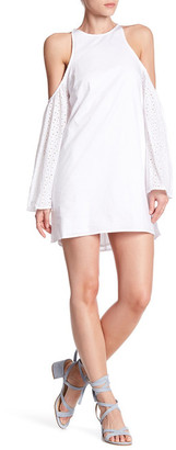 Lucca Couture Cold Shoulder Eyelet Sleeve Dress $59.50 thestylecure.com