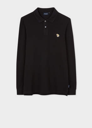 Paul Smith Men's Black Zebra Logo Long-Sleeve Polo Shirt