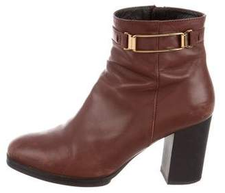 Tod's Leather Round-Toe Ankle Boots