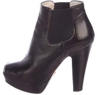 Prada Leather Peep-Toe Ankle Boots