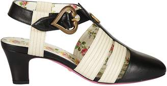 Gucci Mid Heel T-strap Sandals