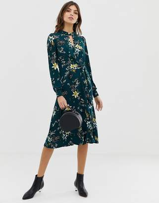 Oasis midi dress with tie side in floral print