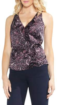 Vince Camuto Paisley Muse Wrap Front Ruffle Blouse