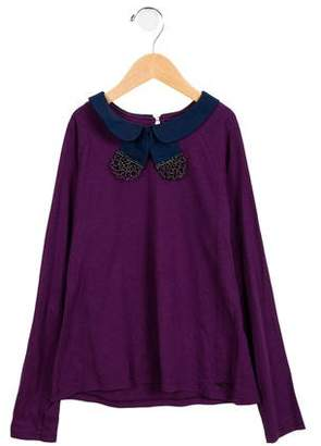 Little Marc Jacobs Girls' Long Sleeve Collared Top