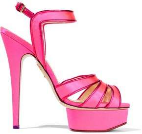Charlotte Olympia Leather-Trimmed Neon Satin Platform Sandals