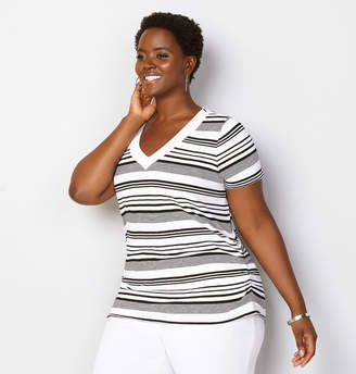 Avenue Black and White Stripe Side Ruched Tee