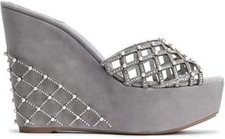 Rene Caovilla Rene' Caovilla Embellished Laser-cut Suede Wedge Sandals