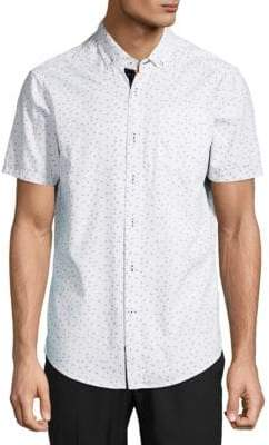 Report Collection Micro Dot Anchor Cotton Button-Down Shirt