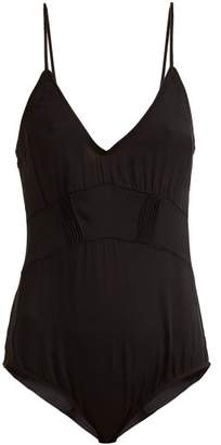 Araks Quella V Neck Stretch Silk Body - Womens - Black
