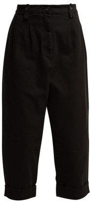 No.21 No. 21 - High Rise Pleated Cropped Jeans - Womens - Black