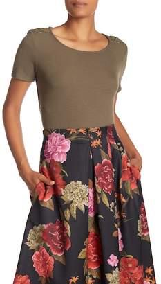 Catherine Malandrino Short Sleeve Lace Shoulder Top
