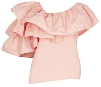 Marques Almeida Marques'almeida Marques'Almeida Light Pink One-shoulder Poplin Top