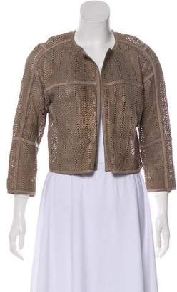 Lafayette 148 Leather Open Front Cardigan