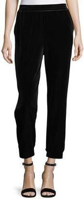 Joan Vass Velvet Cropped Jogger Pants, Plus Size