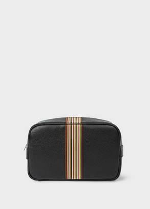 Paul Smith Men's Black Leather Signature Stripe Wash Bag