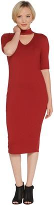 G.I.L.I. Got It Love It G.I.L.I. Peached Knit Elbow Length Sleeve Dress with Cutout