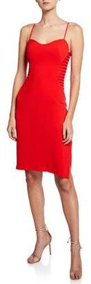 Halston Sleeveless Crepe Dress with Side Strips