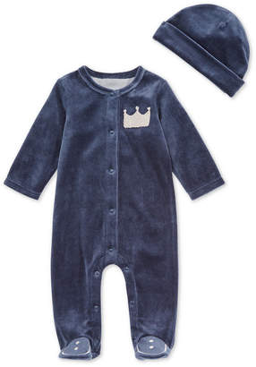 First Impressions Baby Boys 2-Pc. Velour Crown Footed Coverall & Hat Set