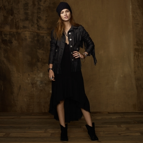 Denim & Supply Ralph Lauren Fringed Cropped Leather Jacket