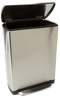 Simplehuman Wide Step Rectangular Step Trash Can, Fingerprint-Proof Brushed Stainless Steel, 50 Liters /13 Gallons