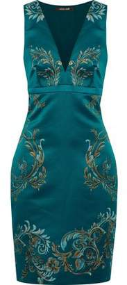 Roberto Cavalli Metallic Printed Duchesse-Satin Dress