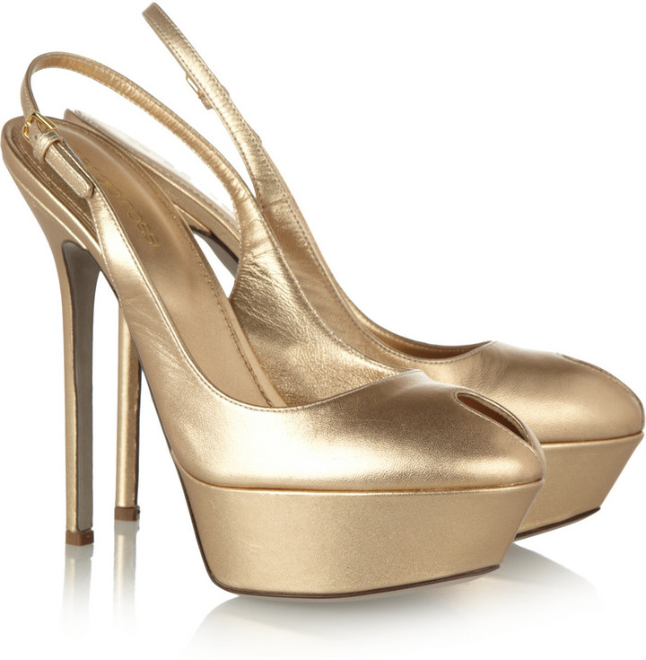 Sergio Rossi Metallic leather platform pumps