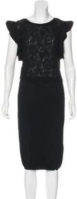 Valentino Lace-Accented Midi Dress
