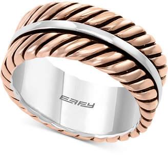 Effy Men Rope-Look Ring in Sterling Silver & 18k Rose Gold-Plate