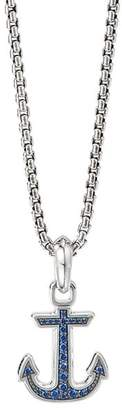 David Yurman Sterling Silver Maritime Anchor Amulet with Sapphires