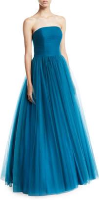 Badgley Mischka Strapless Tulle Ball Gown