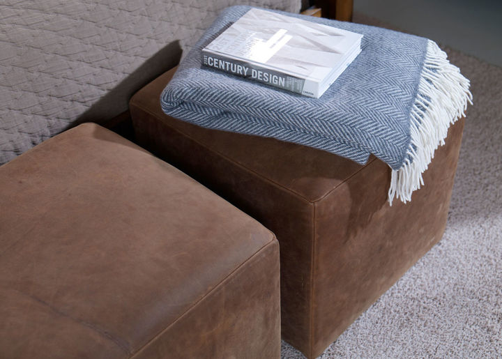 Ethan Allen Chad Leather Ottoman