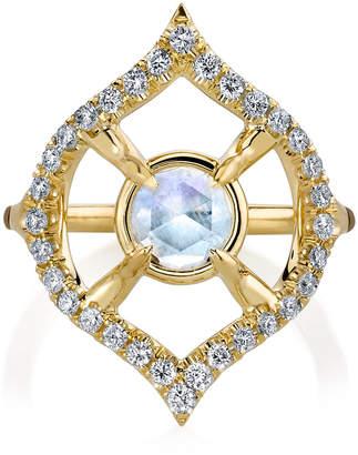 Ark Moonstone Nectar 18K Gold Diamond And Moonstone Ring