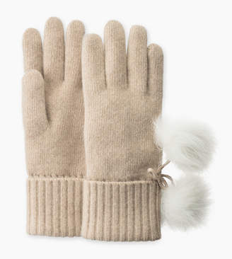 UGG Ribbed Cashmere Glove with Poms