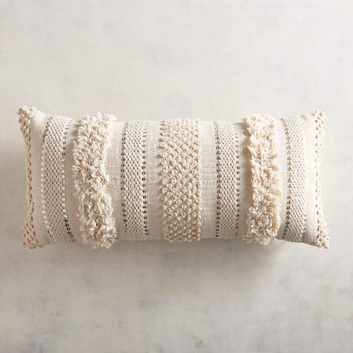 Tufted Solid Ivory Lumbar Pillow