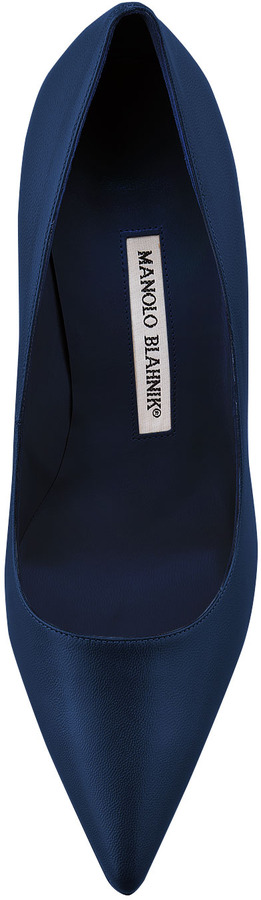 Manolo Blahnik BB Leather 70mm Pump, Blue