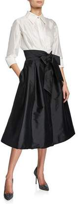 Rickie Freeman For Teri Jon Two-Tone 3/4-Sleeve Taffeta Shirtdress
