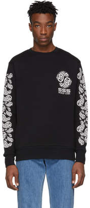 SSS World Corp Black Graphic Logo Sweatshirt