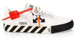 Off-White Vulcanized Striped Leather Low-Top Sneakers