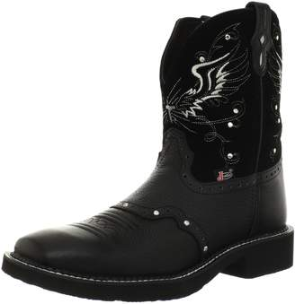 """Justin Boots Women's Gypsy Collection 8"""" Boot Wide Square Double Stitch Toe Black Rubber Outsole, Cowhide with Perfed Saddle Vamp/Black Suede with Diamond Cut Pull Strap"""