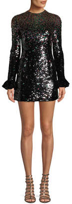 Valentino Jewel-Neck Long-Sleeve Sequined Cocktail Dress