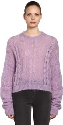 Miu Miu Sheer Mohair Blend Cable Knit Sweater
