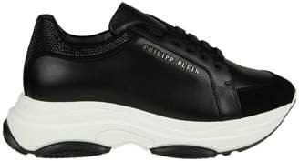 Philipp Plein Sneakers In Black Leather With Applied Rhinestones