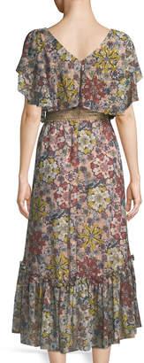 Taylor Floral Flutter-Sleeve Midi Dress